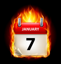 seventh january in calendar burning icon on black vector image