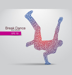 silhouette a break dancer from triangles vector image