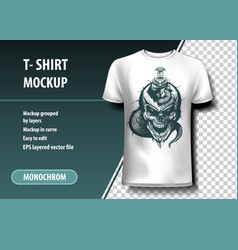 Skull and snake around the sword t-shirt template vector