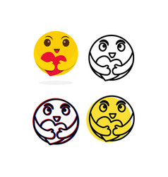 Smile emoticon character template design vector