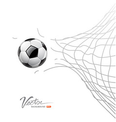 Soccer ball through net isolated vector