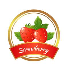 strawberry jam label berries marmalade jar vector image