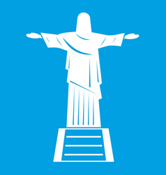 the christ the redeemer statue icon white vector image
