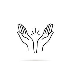thin line prayer hands or applause vector image