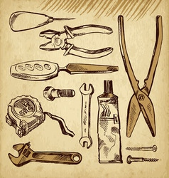 Tools scetch set vector image