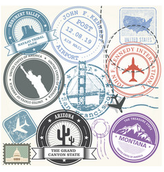 United states travel stamps set - usa journey vector