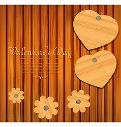 valentines wooden background vector image vector image