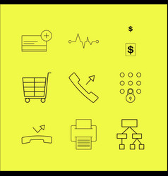 web linear icon set simple outline icons vector image
