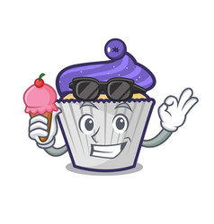 with ice cream blueberry cupcake character cartoon vector image