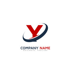 y ring letter with swoosh logo icon design vector image