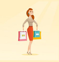 Young happy caucasian woman with shopping bags vector