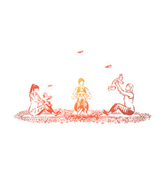 young mothers doing gymnastic exercises with vector image