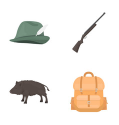 a hunting hat with a feather a wild boar a rifle vector image