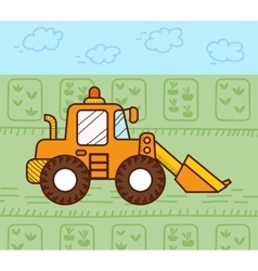 excavator works vector image