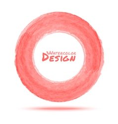 Hand drawn watercolor light red circle design elem vector image