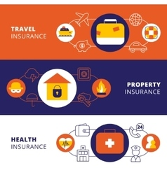 Insurance policy horizontal flat banners set vector image