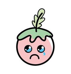 Kawaii crying tomato vegetable icon vector