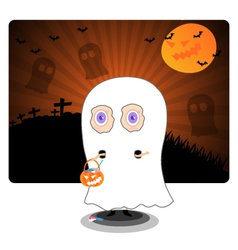 Little kid in Halloween ghost costume vector image vector image