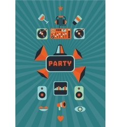 Vintage music party poster for a night club vector image