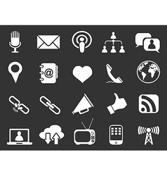 white communication icons set vector image vector image