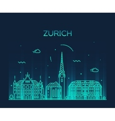Zurich skyline silhouette linear vector image vector image