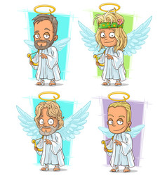 cartoon angels with nimbus and harp character set vector image