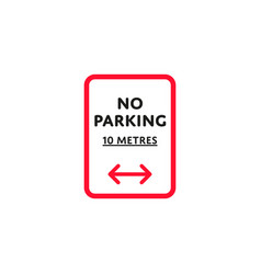 No parking to left and right roadsign isolated vector