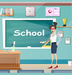young female teacher in class room vector image vector image
