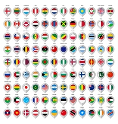 108 Map gray marker with flags Big set vector image