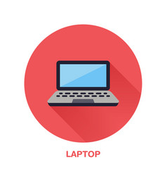 black laptop notebook with blank screen flat style vector image vector image