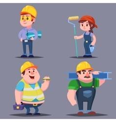 Builders cute Cartoon Characters set vector image vector image