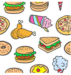 doodle of many various food vector image vector image