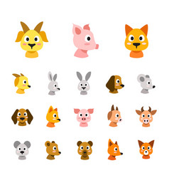 flat colored style animal faces icon set vector image
