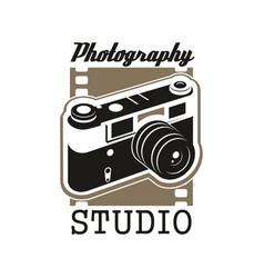 photo studio icon with isolated retro camera vector image