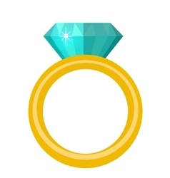 Ring with diamond gems rings icon flat design vector image
