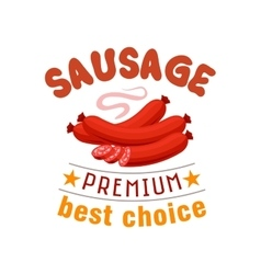 Sausage grill fast food menu label emblem vector image