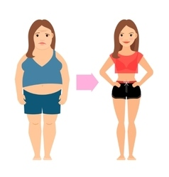 Women weight loss success vector