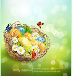 background with Easter nest and eggs on spring bac vector image vector image