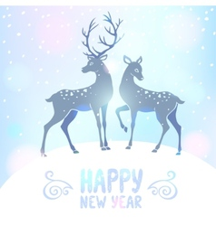 Deer silhouette new year vector image
