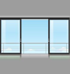 Room with a sliding door vector