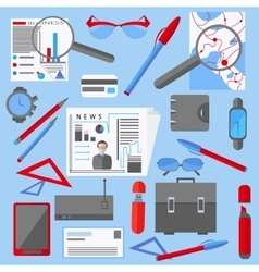Set isolated office and business elements phone vector image vector image