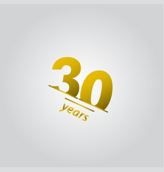 30 years anniversary celebration gold line vector