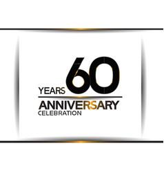 60 years anniversary black color simple design vector