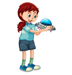 A girl holding ufo toy cartoon character isolated vector