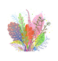 Autumn gentle fall leaves composition vector