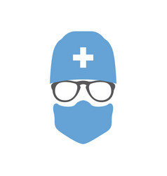 Avatar doctor surgeon in hat and mask vector