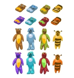 Baby costumes plush animals icons set vector image