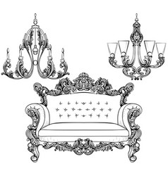 baroque armchair and chandelier set with luxurious vector image