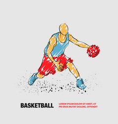Basketball player with ball outline vector