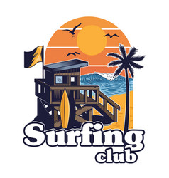 beach wood house surfing club vector image